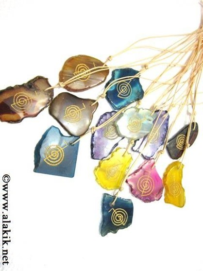 Picture of Agate Slices Choko Reiki Colourful pendants with cords