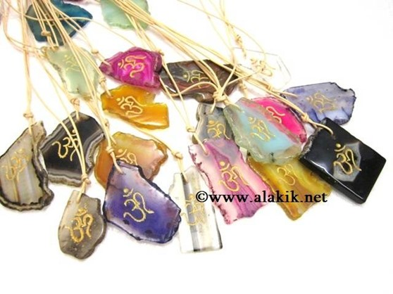 Picture of Agate Slices OM Colourful pendants
