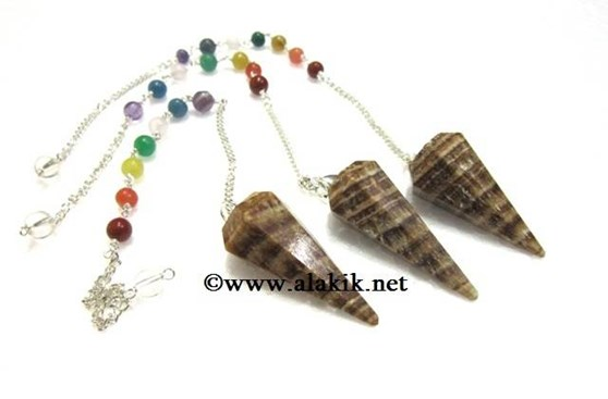 Picture of Aragonite 6 facet pendulum with chakra chain