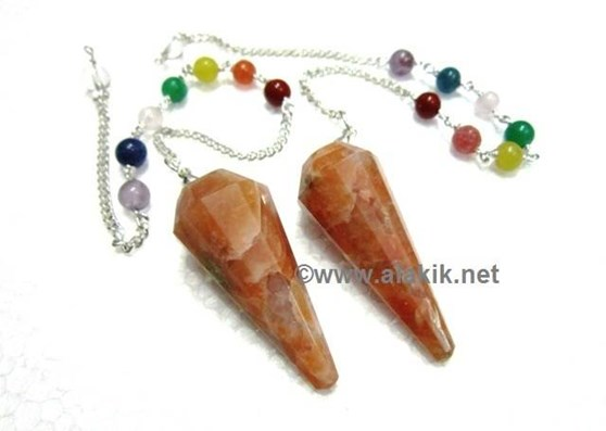 Picture of 12 Facet Orange Moonstone Pendulum with chakra chain