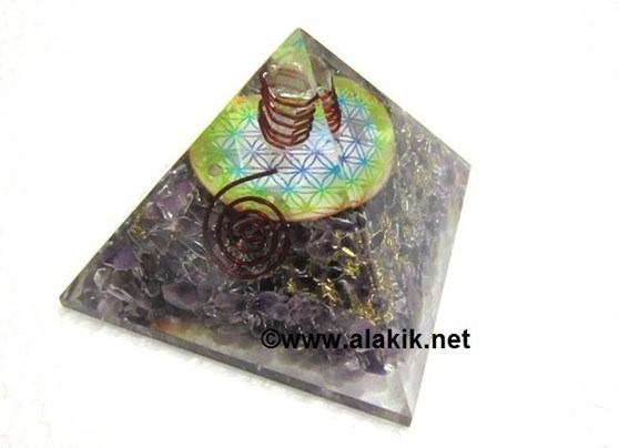 Picture of Amethyst Orgone pyramid with flower of life