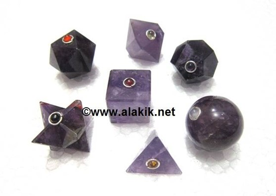 Picture of Amethyst 7pcs Geometry set  with chakra cabs