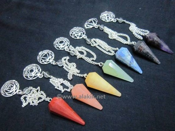 Picture of 7 chakra pendulum set with Chakra Metal Charms