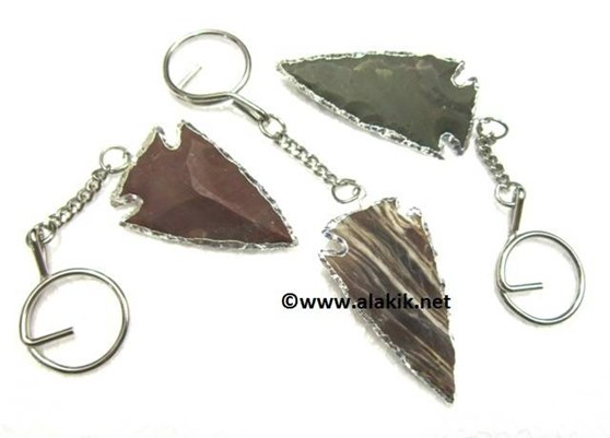 Picture of 2inch Agate Arrowhead Electroplated Keyring
