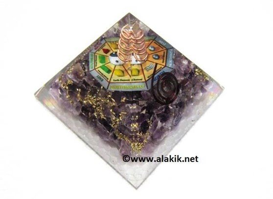 Picture of Amethyst Orgone Pyramid with Chakra Mandala