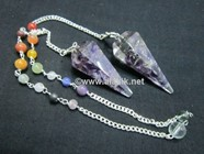 Picture of Amethyst orgone Pendulum with chakra chain