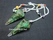 Picture of Green Aventurine orgone Pendulum with chakra chain