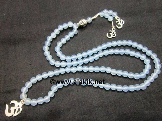 Picture of Aquamarine Buddha Jap mala with OM