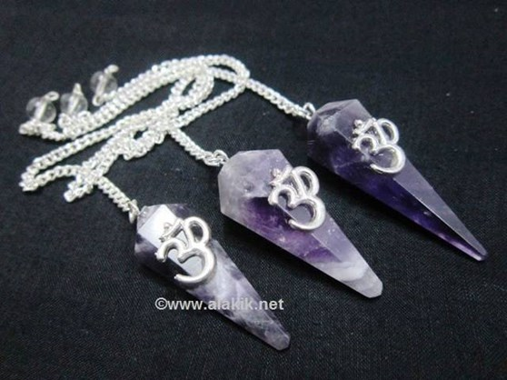 Picture of Amethyst 6 Facet Pendulum with OM