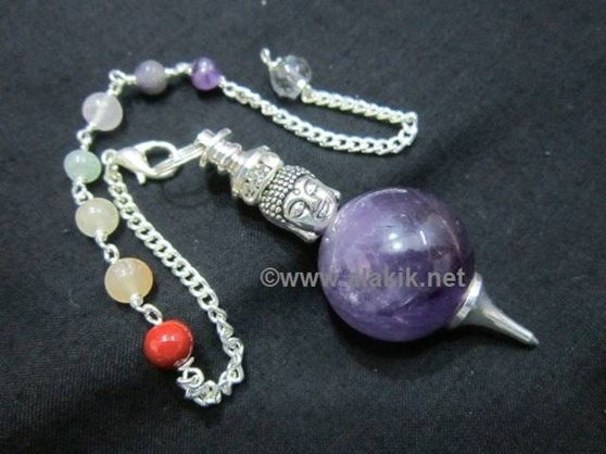 Picture of Amethyst Ball pendulm with Buddha Head chakra chain