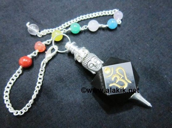 Picture of Black Agate Hexagon OM pendulum with Buddha Head chakra chain