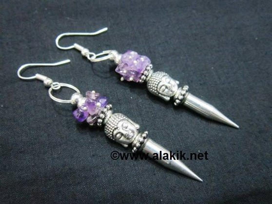 Picture of Amethyst Buddha bullet Point Earring