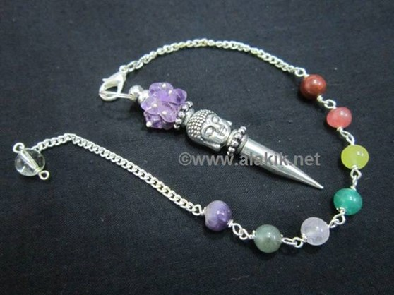 Picture of Amethyst Buddha bullet Point Pendulum with Chakra chain