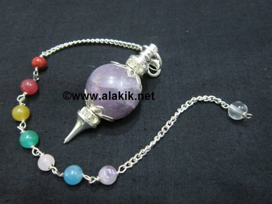 Picture of Amethyst Ball Pendulum with Diamond ring chakra chain