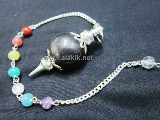Picture of Black Agate Ball Pendulum with Diamond ring chakra chain