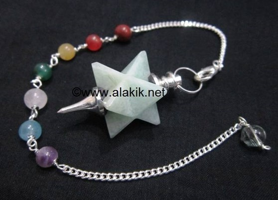 Picture of Amazonite Merkaba Metal Mounted Pendulum with Chakra Chain
