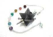 Picture of Blue Jade Merkaba Metal Mounted Pendulum with Chakra Chain