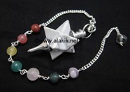 Picture of Howalite Merkaba Metal Mounted Pendulum with Chakra Chain