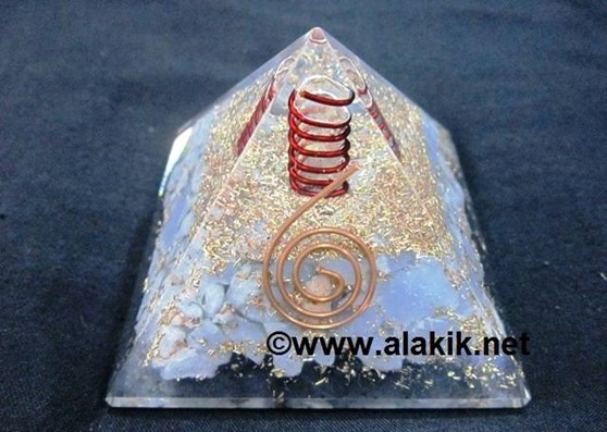 Picture of Angelite Orgone Pyramid With Copper Coil