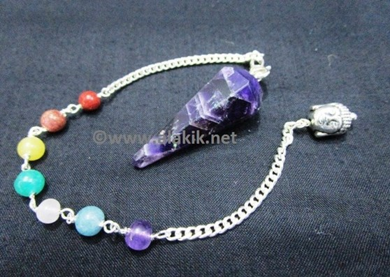 Picture of Amethyst 6 Facet pendulum with Chakra Buddha Chain