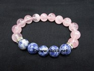 Picture of Rose Quartz 10mm Throat Chakra Bracelet with Diamond Ring