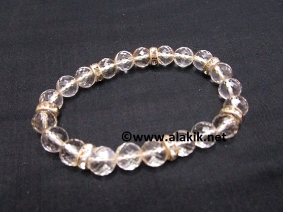 Picture of 8mm Facetted Crystal Quartz Bracelet with Diamond Ring
