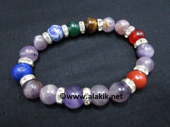 Picture of Amethyst Chakra 10mm Elastic Bracelet with Diamond ring