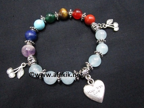 Picture of Aquamarine Chakra 10mm Elastic Bracelet with Charms