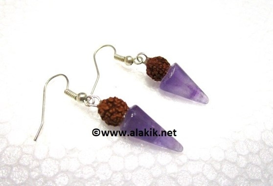 Picture of Amethyst Cone Rudraksha Earring