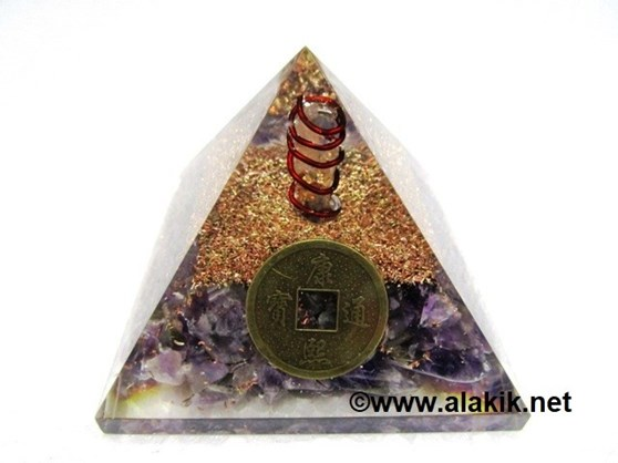 Picture of Amethyst Orgone Pyramid With Fengshui Coin