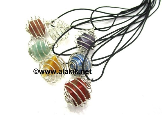 Picture of 7 Chakra Cage Geometry Necklace Set