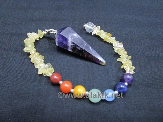 Picture of Amethyst Pendulum with Citrine Chips Chakra Beads chain