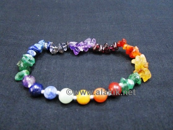 Picture of 7 Chakra Chips Beads Bracelet