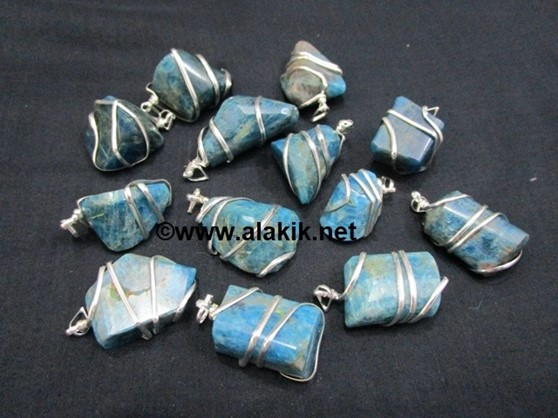 Picture of Apatite Wire Wrapped Tumble Pendants