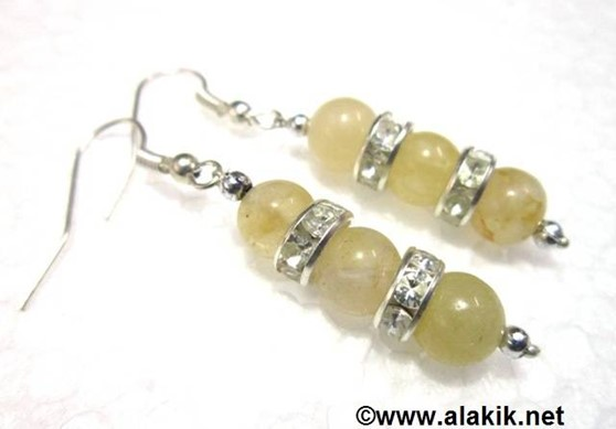 Picture of 2 Yellow Jade with Diamond ring Earring