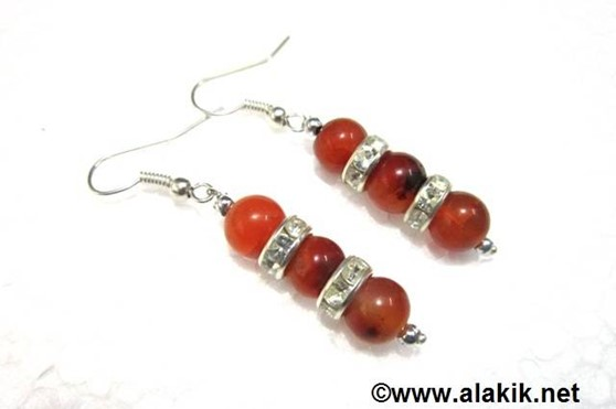 Picture of 3 Red Cornelian with Diamond ring earring