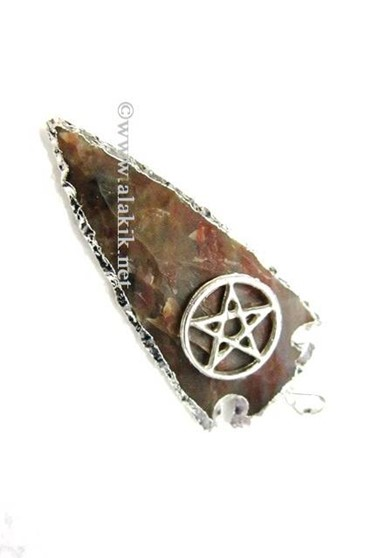 Picture of Agate Silver Electroplated with Pentacle Star Pendant
