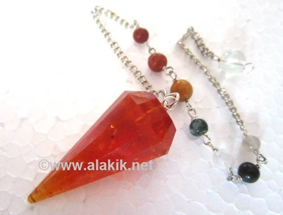 Picture of 12 Facet Amber Pendulum with Chakra chain