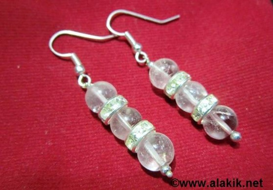 Picture of 3 Crystal quartz bead with Diamond ring Earring