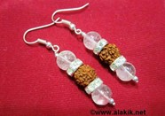 Picture of 2x1 Crystal Rudraksh with diamond ring earring