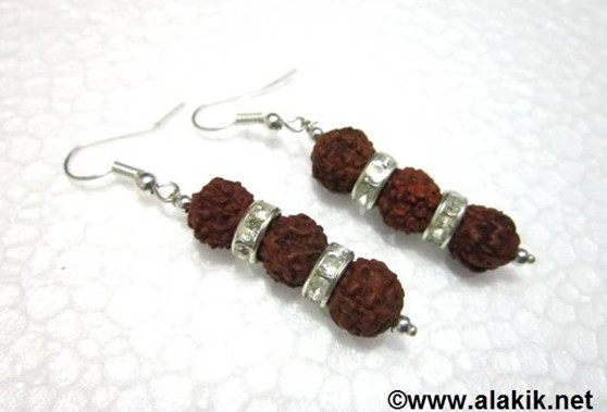 Picture of 3 Rudraksha with Diamond Ring Earring