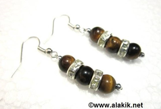 Picture of 3 Tiger Eye with Diamond ring earring
