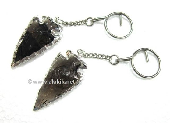 Picture of 2inch Black Obsidina Electroplated keyring