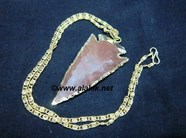 Picture of 2 inch Jasper Electro plated arrowhead with chain