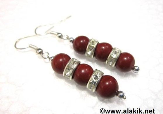 Picture of 3 Red Jasper with Diamond ring Earring